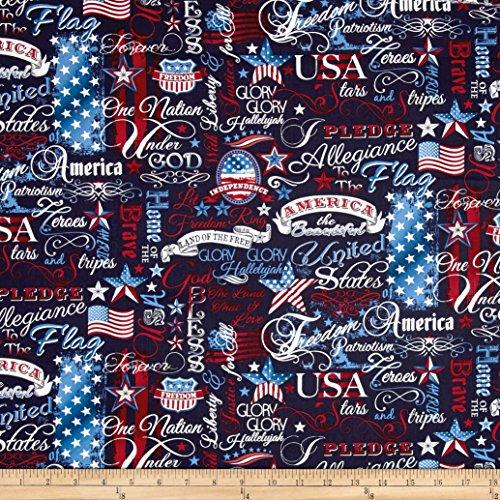 """Timeless Treasures""""""""American Pride Patriotic Words, Navy"""