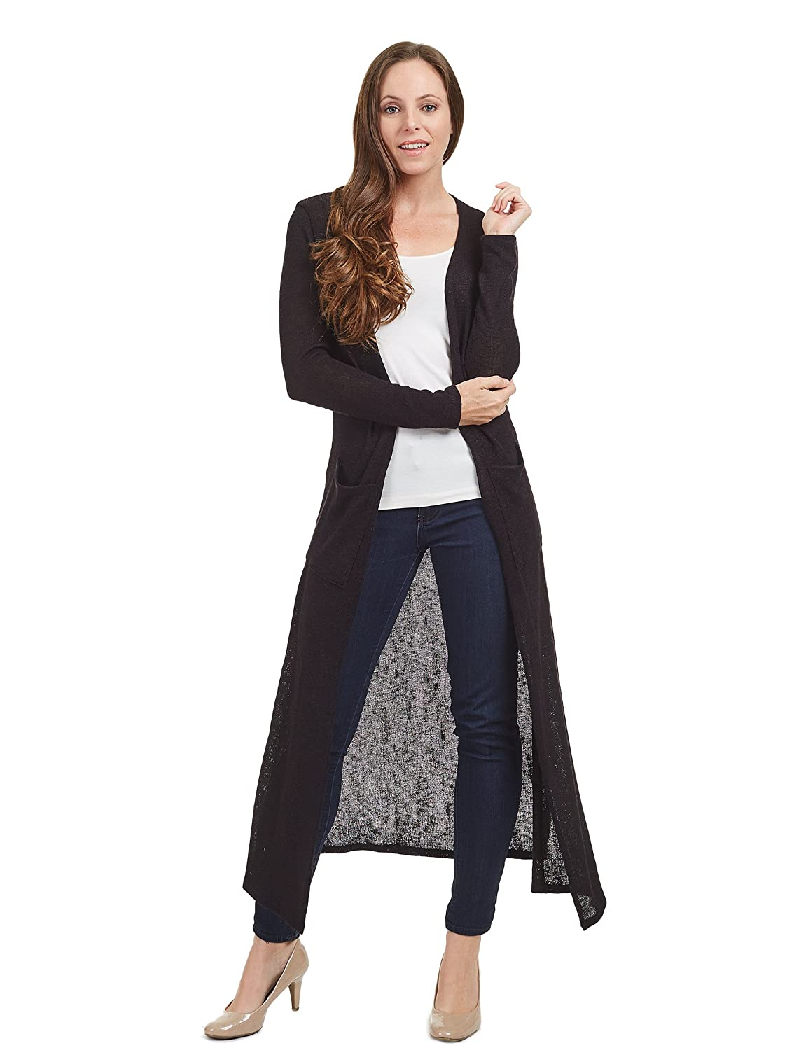 84c174ef7aa Top1  Come Together California CTC WSK1445 Womens Side Slit Long Open Knit  Cardigan With Pockets