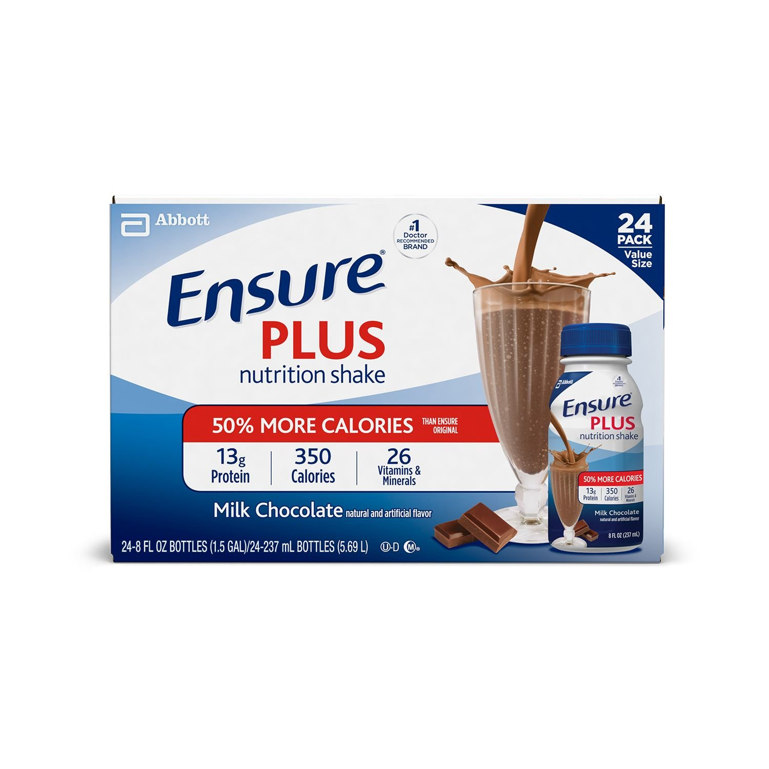 Ensure Plus Creamy Milk Chocolate Shake (8 oz. bottle, 24 pk.) (pack of 6)