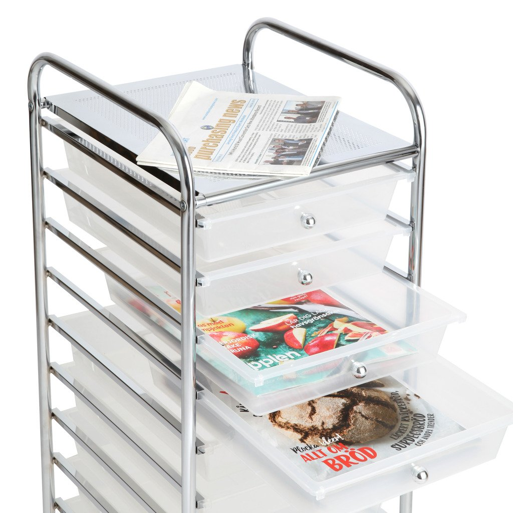 Finnhomy 10 Drawer Rolling Cart, Storage Rolling Carts with Semi-Transparent White Drawers, Organizer Cart for School, Office, Home, Beauty Salon,Utility Cart with Wheels by Finnhomy (Image #4)