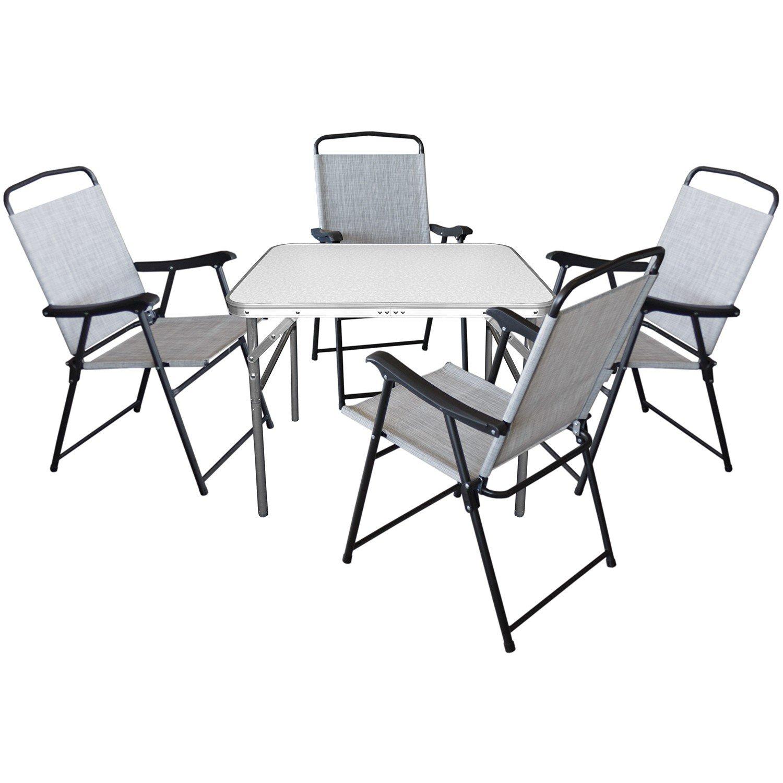 5er Set Camping Sitzgruppe Sitzgarnitur Klapptisch 75x55xH60cm + 4x Klappstühle mit Textilengewebe Schwarz/Grau