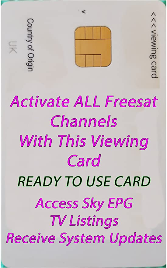 Sky Freesat TV Viewing Card  No subscription  6 extra channels free