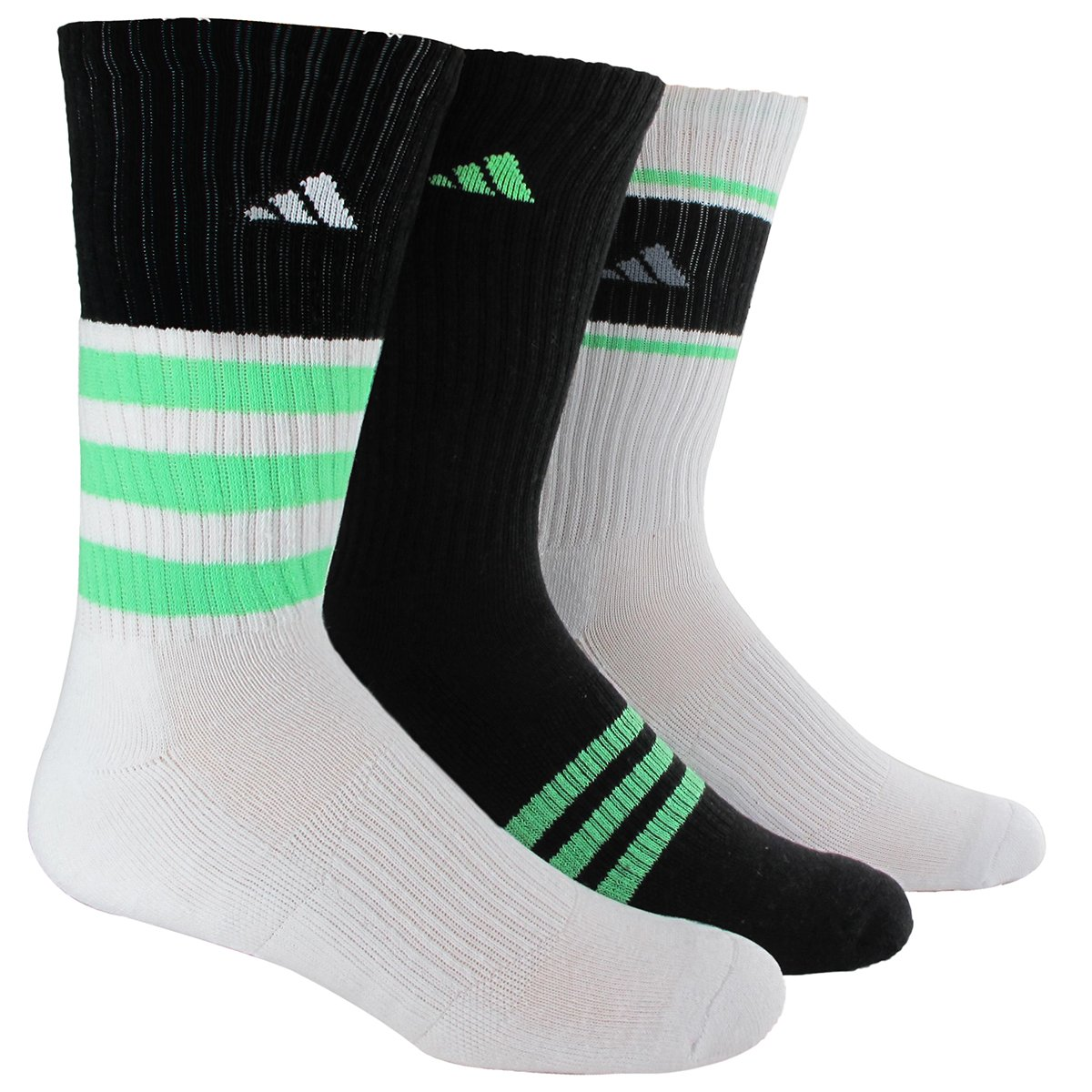 adidas Men's Cushioned Assorted Color 3-Pack Crew Socks, Black/White/Flash Green/Grey/White, Large by adidas