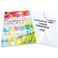 10 láminas autoadhesivas satinadas de vinilo (PVC), A4, aptas para impresoras láser, resistentes al agua, de gran…