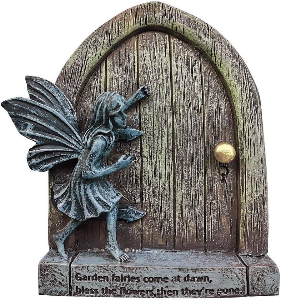 JIUMO Fairy Garden Door with Fairies Miniature Fairy Door for Trees Outdoor Wall Hanging