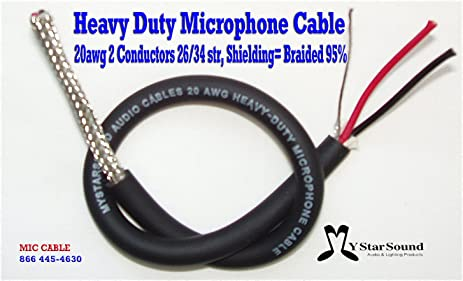 Amazon.com: Microphone Wire / Cable Bulk 20 Gauge 95% Shielding USA ...