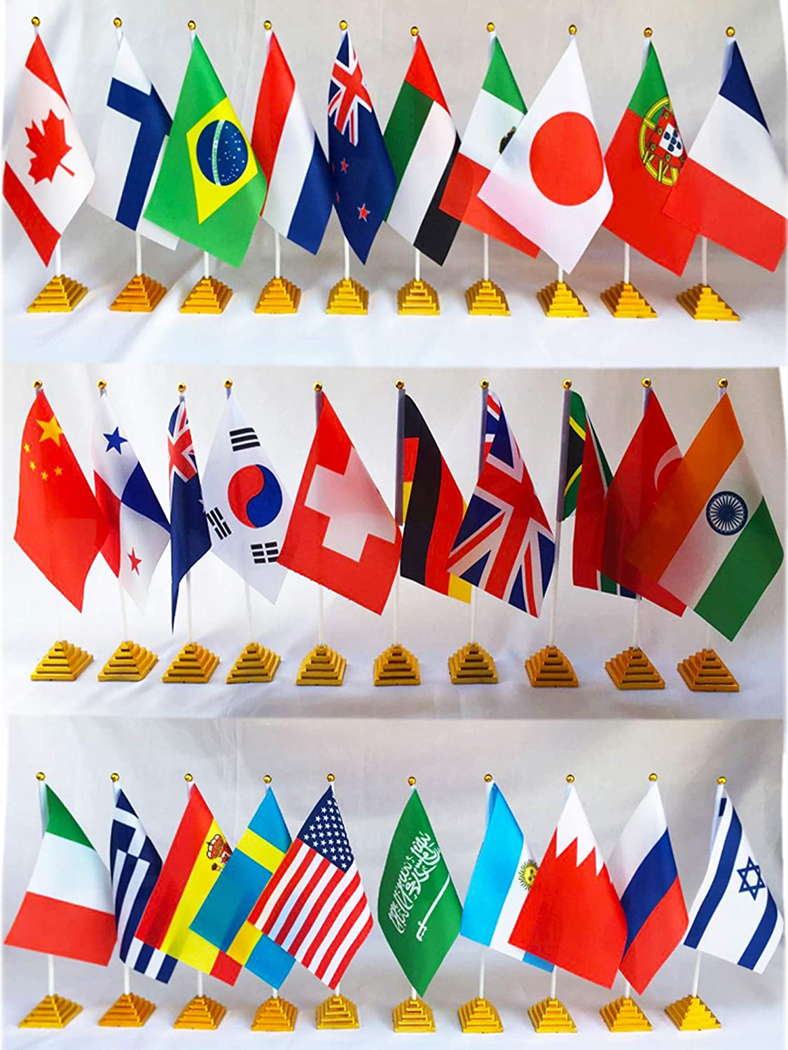 """30 Countries Desk Flags Pack International Table Flag Office Flag Stand-8.2 x 5.5 Inches Mini Desktop Flag with 11.8"""" White Pole with Golden Top-Fade Resistant - Golden Pyramid Stand Bases Included"""
