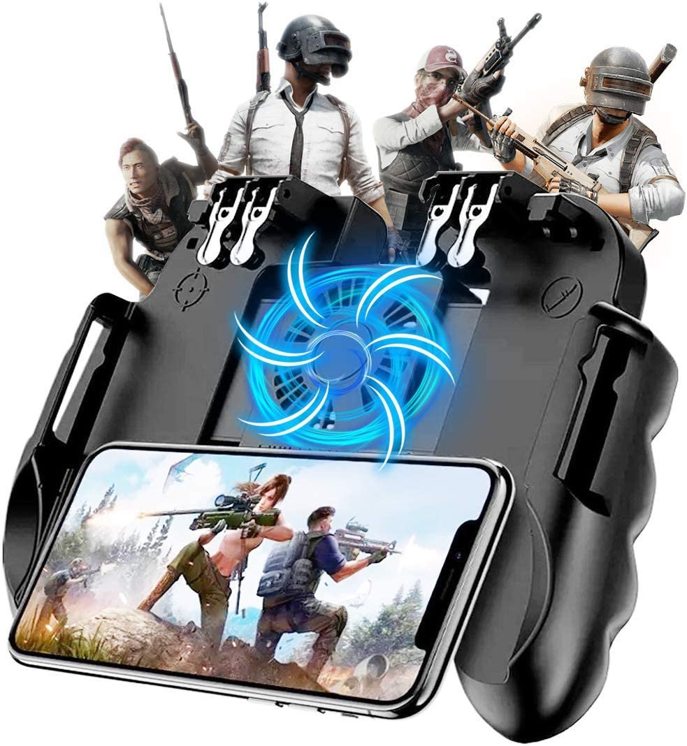"""Mobile Game Controller with Cooling Fan for PUBG/Call of Duty/Fortnite Gaming Grip Gamepad Wireless Mobile Gaming Joystick for 4.7-6.5"""" iOS Android Phone [6 Finger Operation]"""