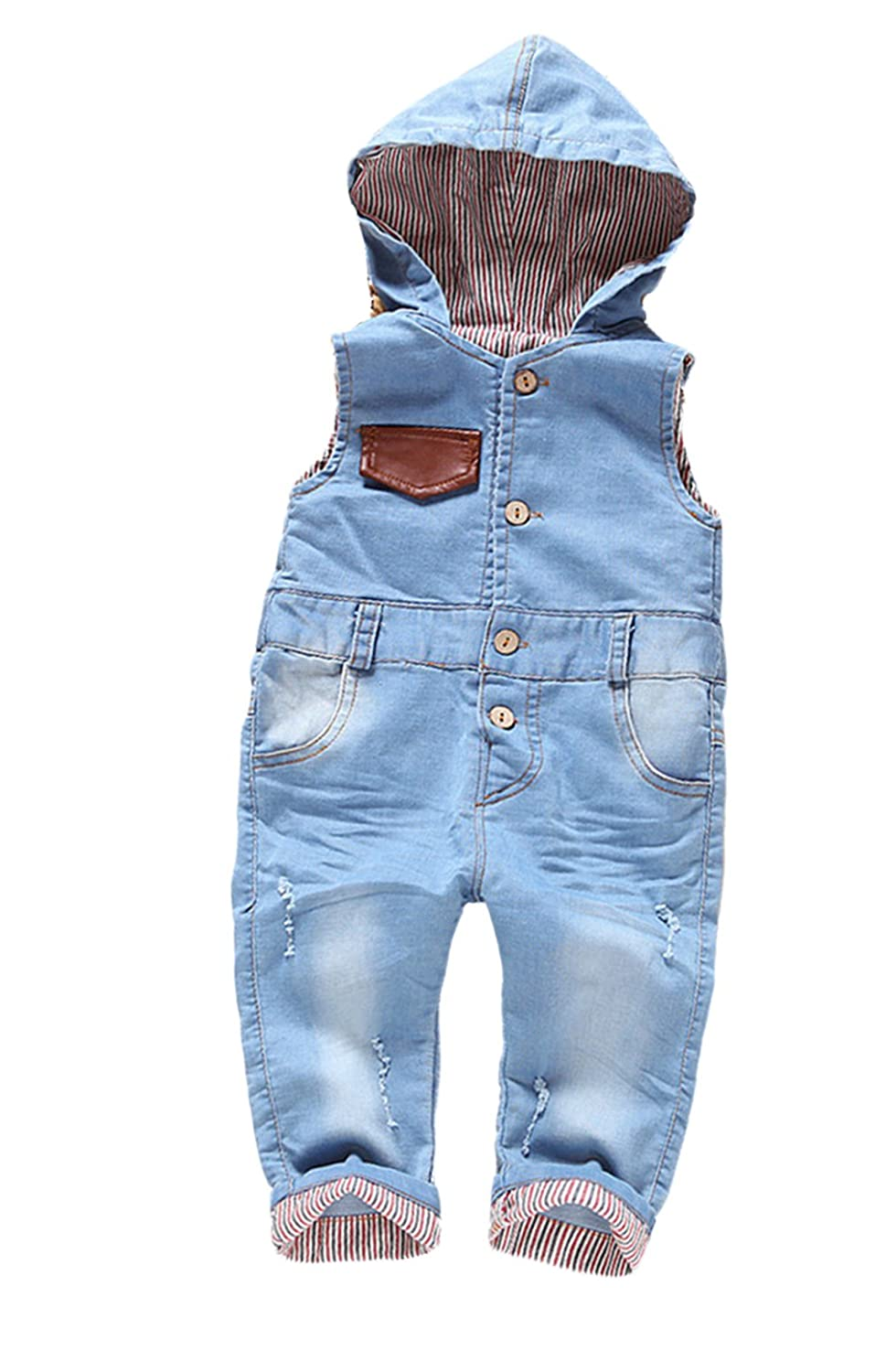 Kidscool Baby Cotton Denim Light Blue Overalls with Hat