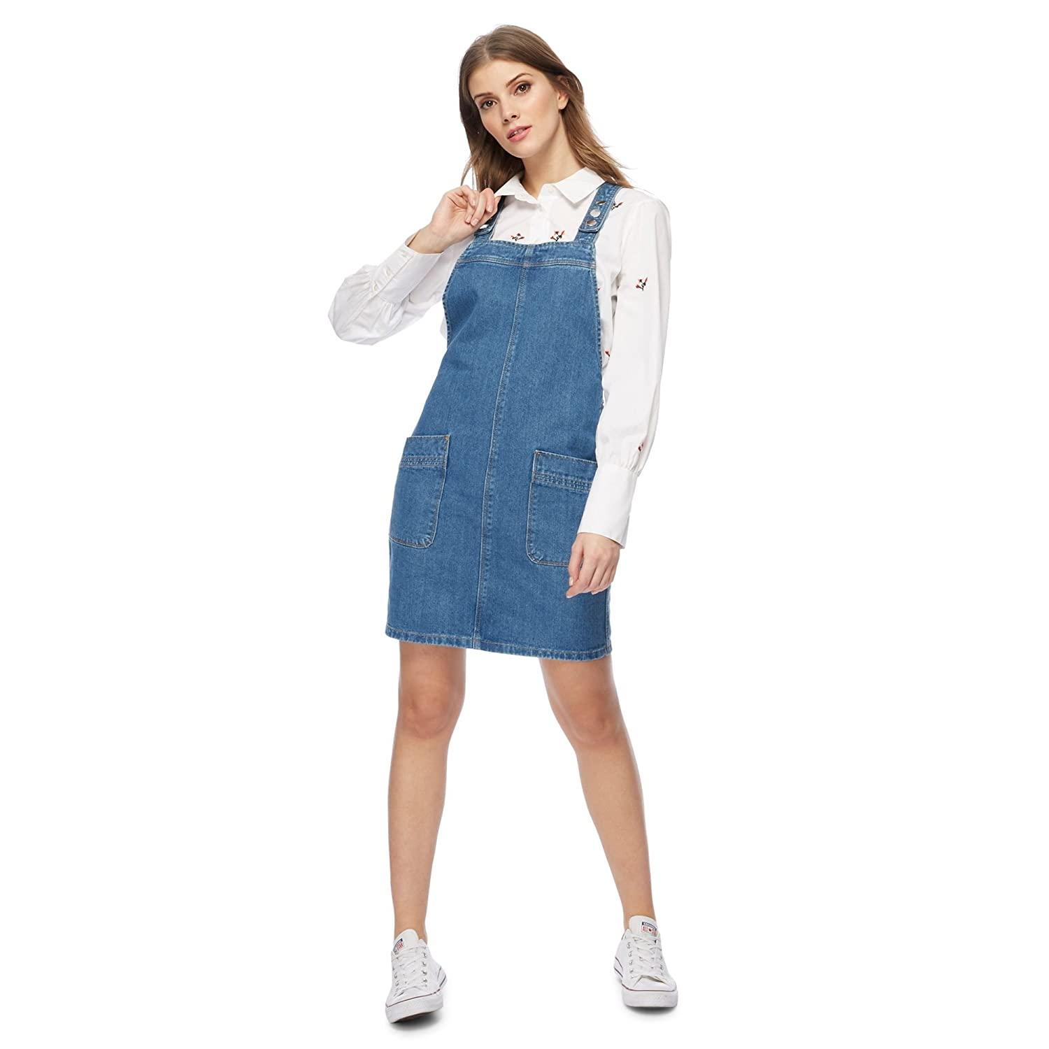 Debenhams Red Herring Womens Blue Denim Pinafore Dress 14: Red ...