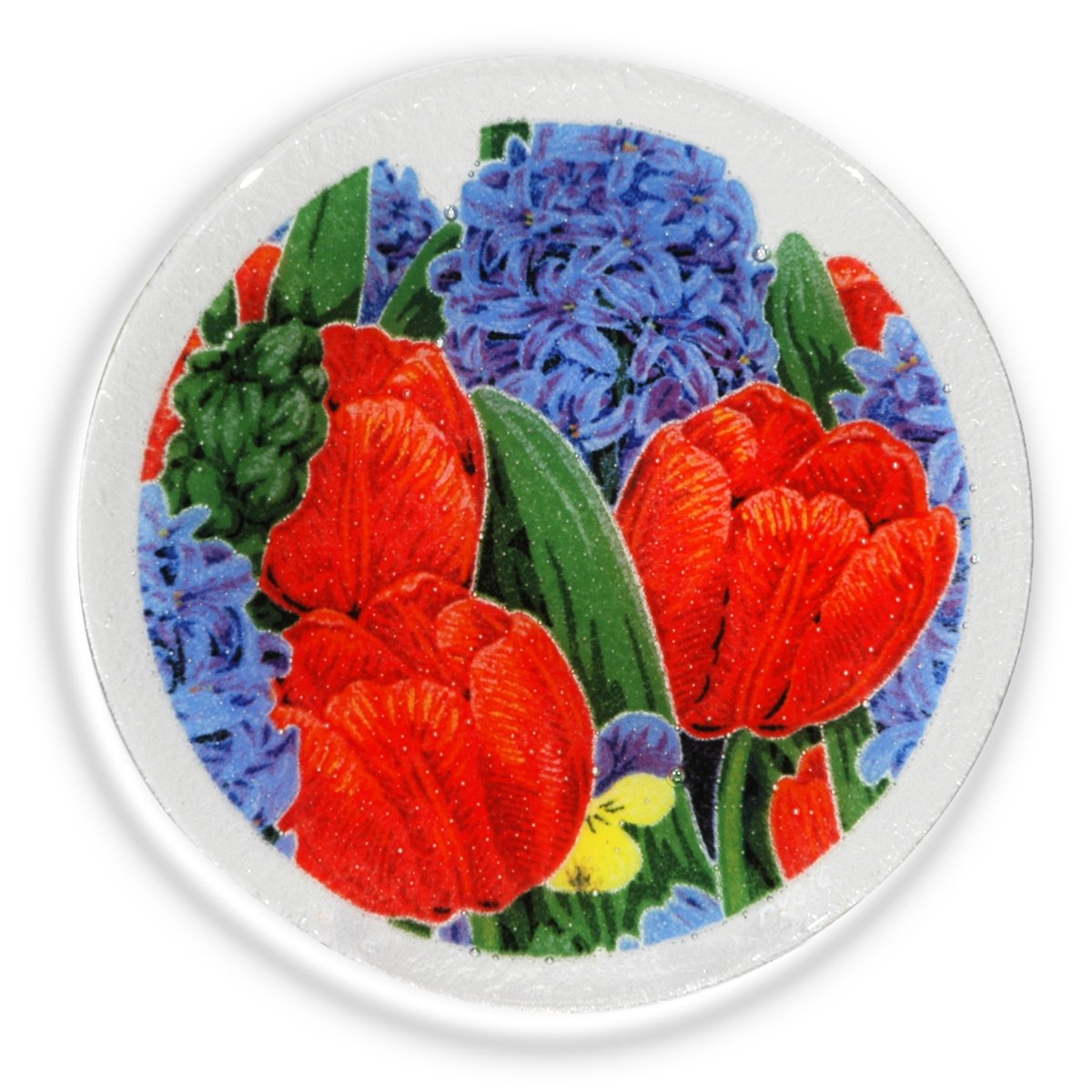 Peggy Karr Glass Handcrafted Art Glass Spring Garden 08'' Round Plate, Multicolor Floral Design