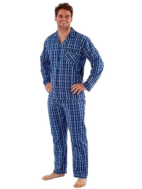 Harvey James - Pijama - Rayas - con Botones - Manga Larga - para Hombre Azul