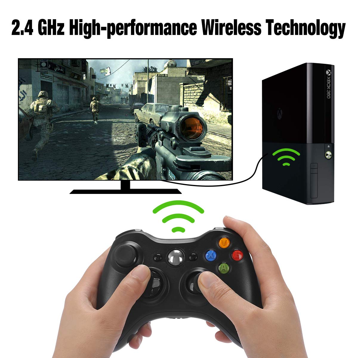 Xbox 360 Wireless Controller, Y Team 2.4GHz Xbox 360 Gamepad Joystick Wireless Controller for Xbox 360 Console and PC Windows 7/8/10 (Black)