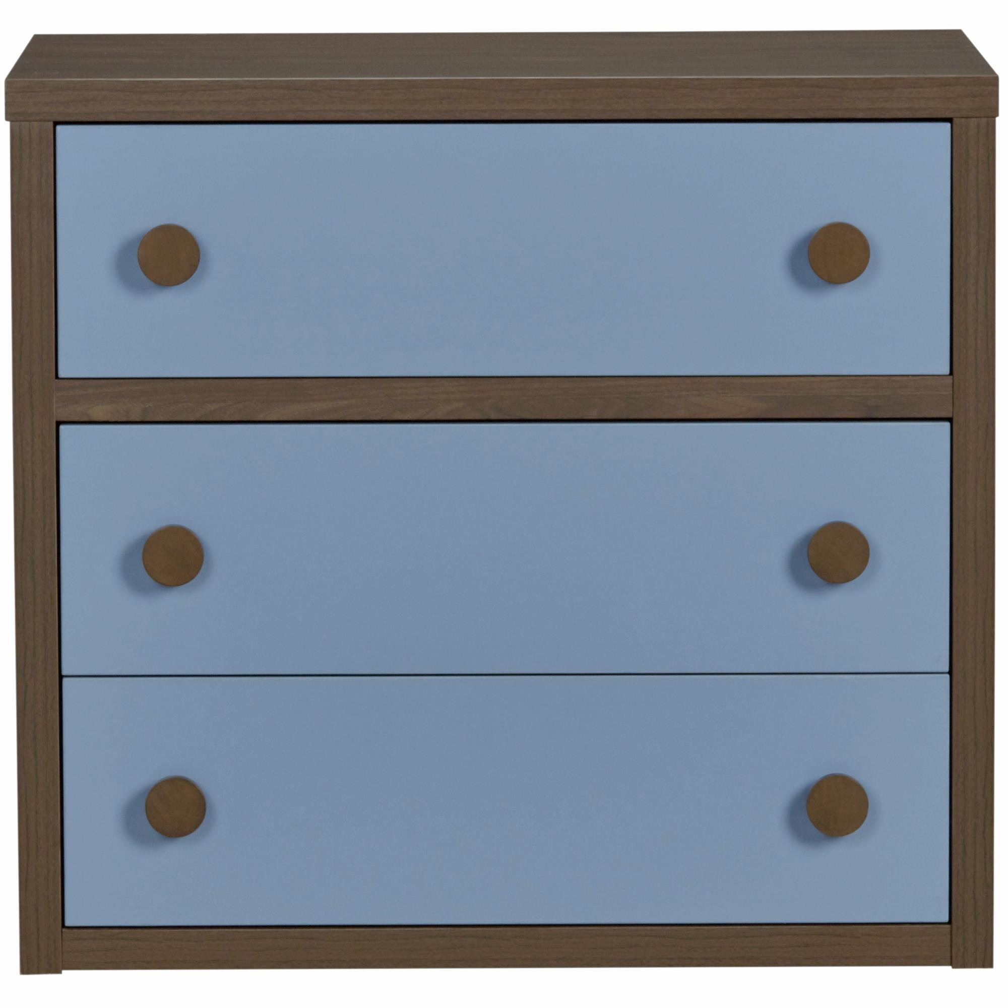 Little Seeds Sierra Ridge Terra 3 Drawer Dresser, Walnut/Blue