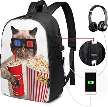 Mochila con Interfaz USB Cat Watching Movie 17-Inch Laptop Backpack with USB Charging Port Mens and Womens Backpack TSA College School Business Travel Large Bags: Amazon.es: Equipaje