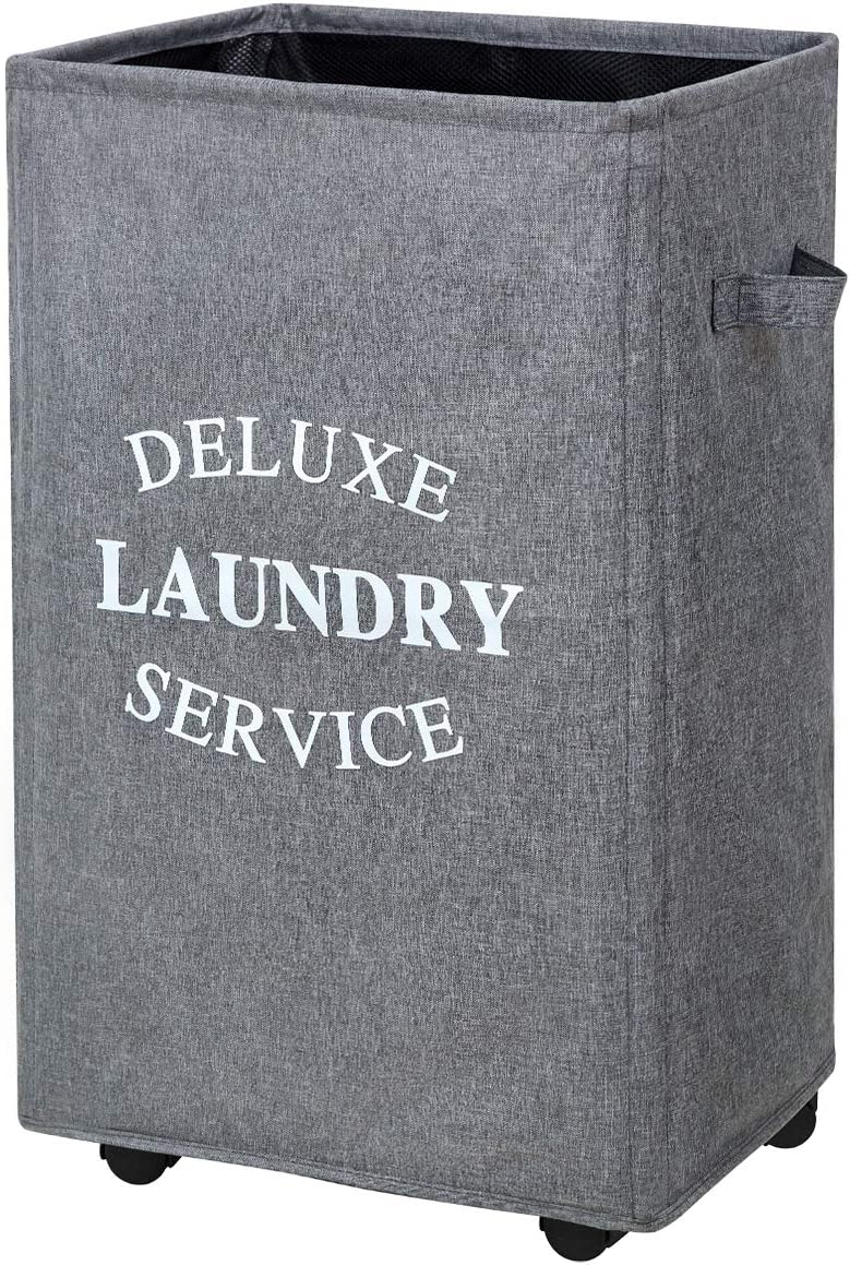 Chrislley 90L Laundry Hamper on Wheels Rolling Large Hampers for Laundry Collapsible Laundry Basket with Wheels (Upgrade Grey)