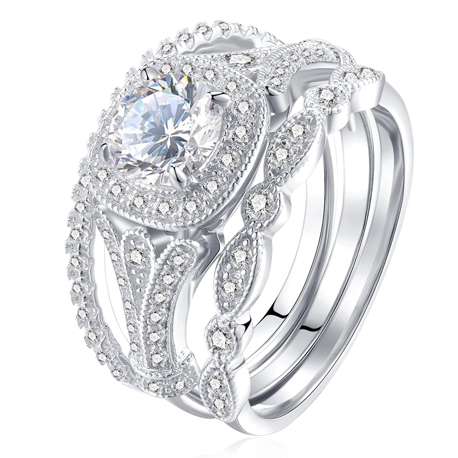 Amazon Newshe Jewellery 3pcs White CZ 925 Sterling Silver
