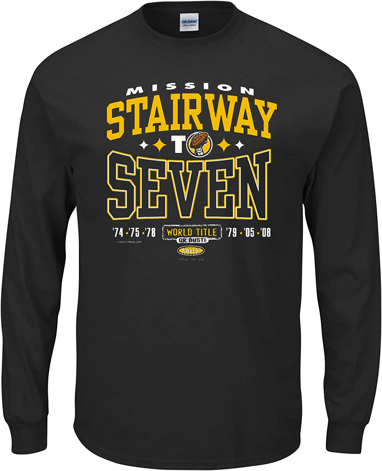 Stairway to Seven World Title or Bust Black T-Shirt Sm-5X Pittsburgh Football Fans