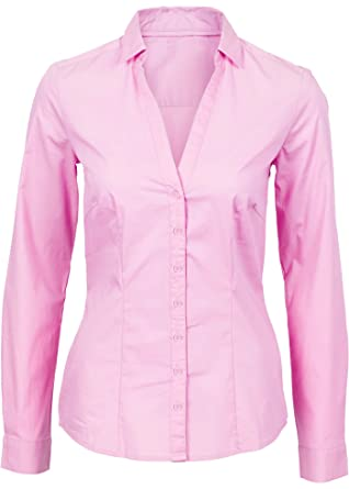 d17947253 MRLZ Women's Basic Long Sleeve Button Down Shirt Simple Deep V Collared  Blouse at Amazon Women's Clothing store: