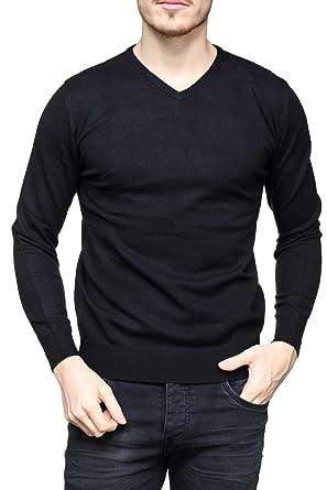 Yves Enzo - Pull habillé Victor Col V Noir  Amazon.fr  Vêtements et  accessoires 0e00de84bbb9