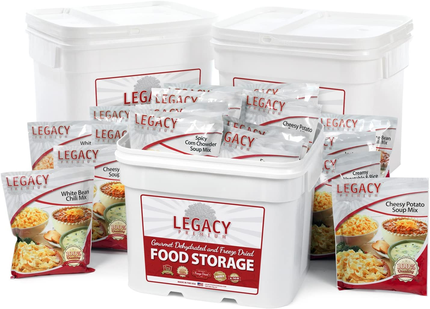 Freeze Dried Survival Food Storage Meals: 360 Large Servings 93 lbs - Emergency Disaster Insurance Preparedness Supply - 25 Year Life: Also for Hiking, Camping