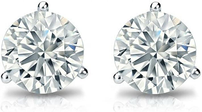 14K White Gold Plated .925 Silver Heart Shape Dangling Earrings 0.50 Ct Round Cut Simulated Diamond