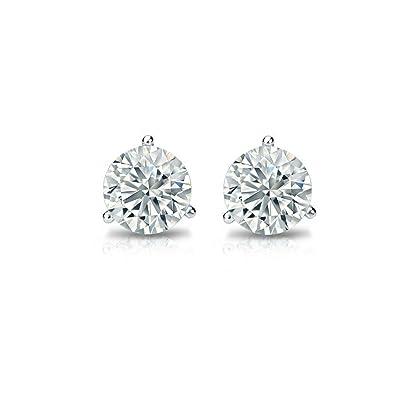 0bafa2e46 Tiny Solitaire 14k White Gold Round Diamond Stud Earrings (Promo)(Color