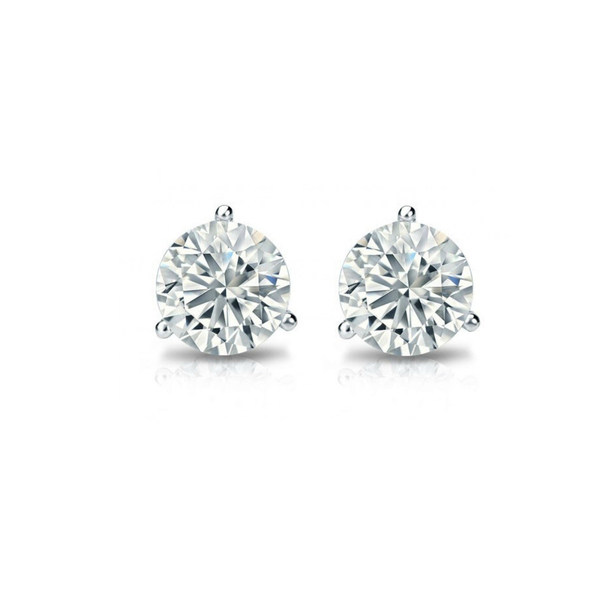 Solitaire Real 14k White Gold Round Diamond Stud Earrings (Promo)(Color- KLMN,Clarity I3/I4)Martini Setting(0.10-0.35 Carat) (0.35)