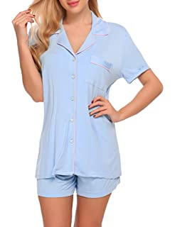 6b6a80ffb39 lome123 Women  s Summer Pajamas Set Short Sleeve Sleepwear 2 Pieces Silk  Stain Shirt Shorts