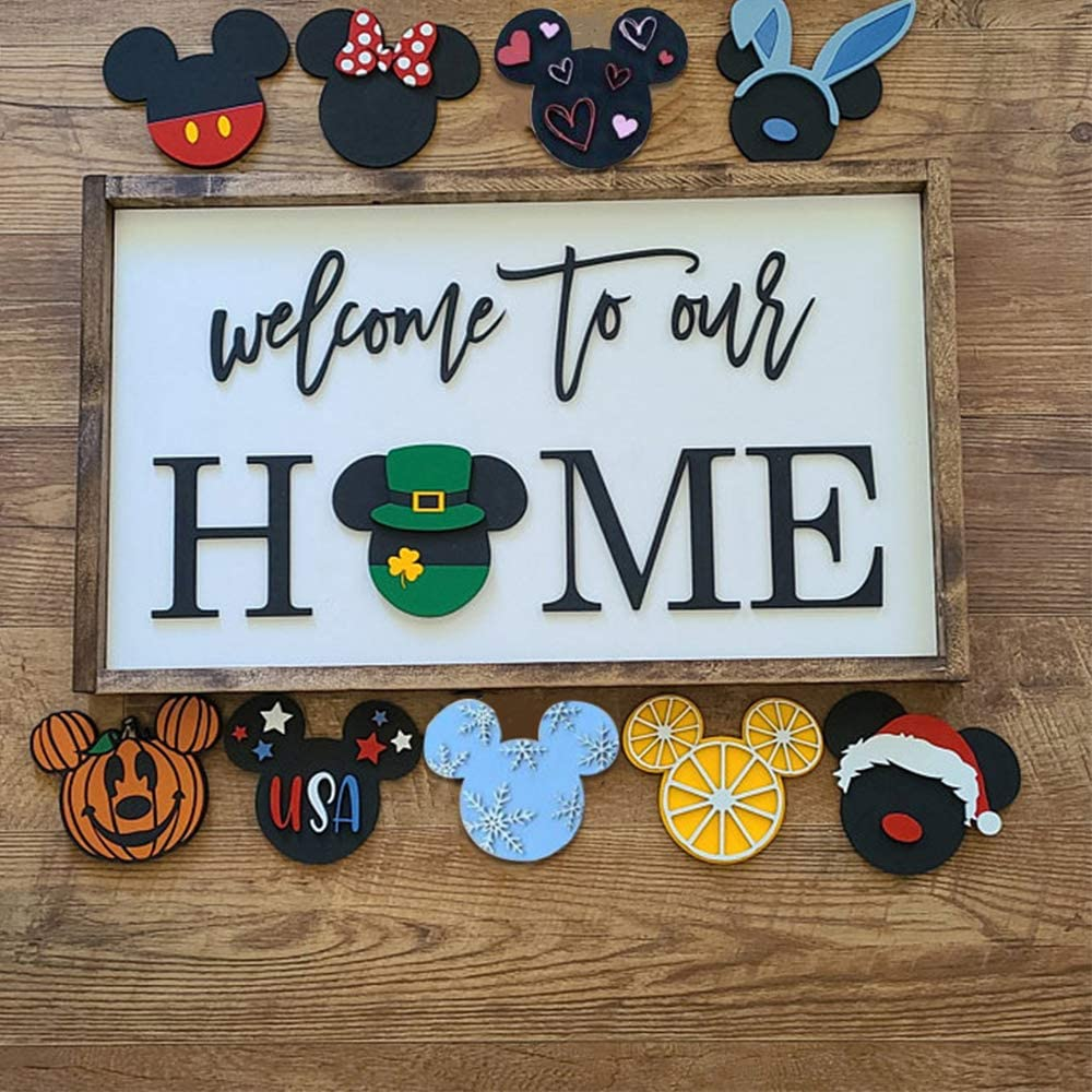 Mi-ckeys Welcome to Our Home Interchangeable Icons Sign, Interchangeable Gift Door Hanger Sign DIY Sweet Home for Decoration