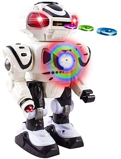 Android Battery Operated Disc Shooting Toy Robot Walking, Flashing Lights,  Talking, Spinning, Disc Shooting Toy Robot (White)