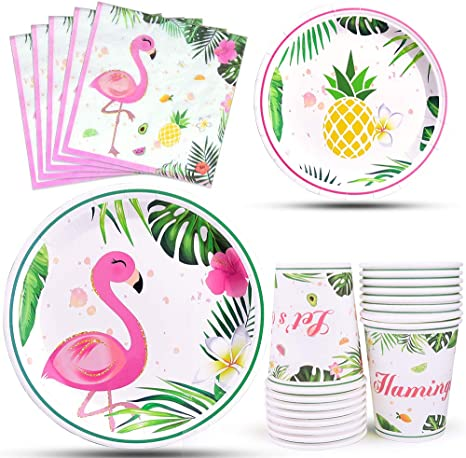 """8 x Flamingo 7/"""" Paper Plates Girls Party Tableware Supplies Pineapple Friends"""