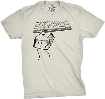 Mens Escape Key Tshirt Funny Nerdy Computer Keyboard Tee For Guys