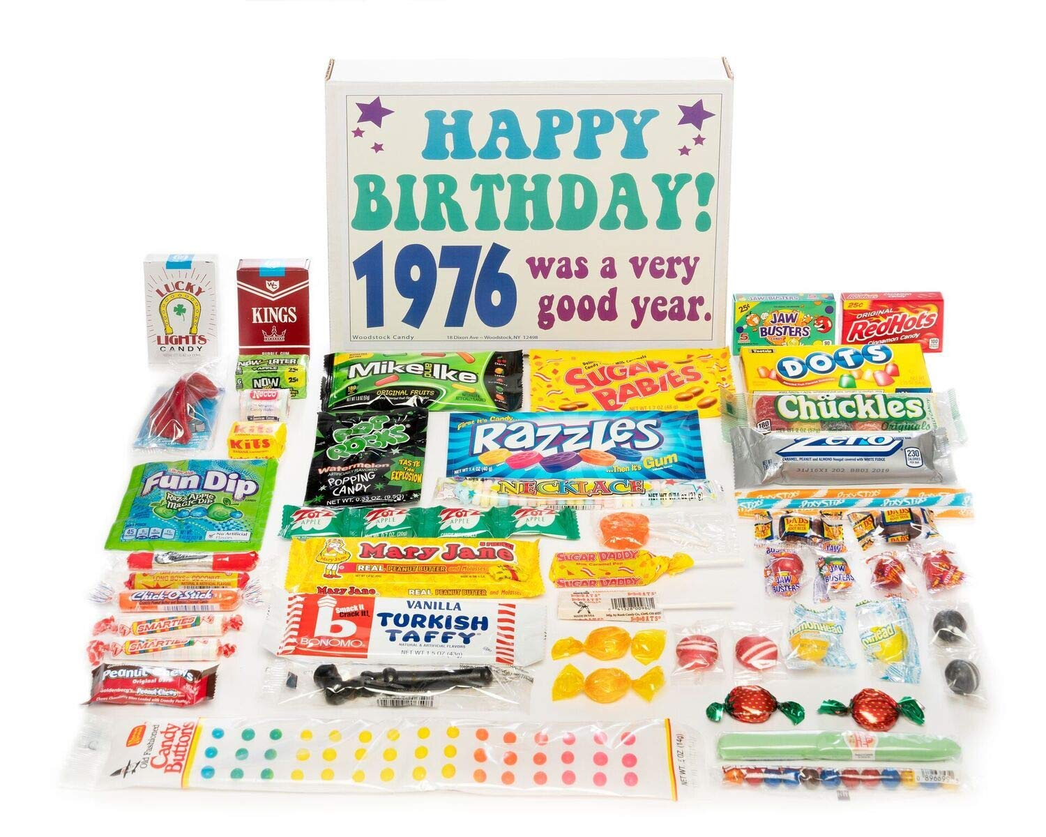 Woodstock Candy ~ 1976 43rd Birthday Gift Box of Nostalgic Retro Candy Assortment from Childhood for 43 Year Old Man or Woman Born 1976