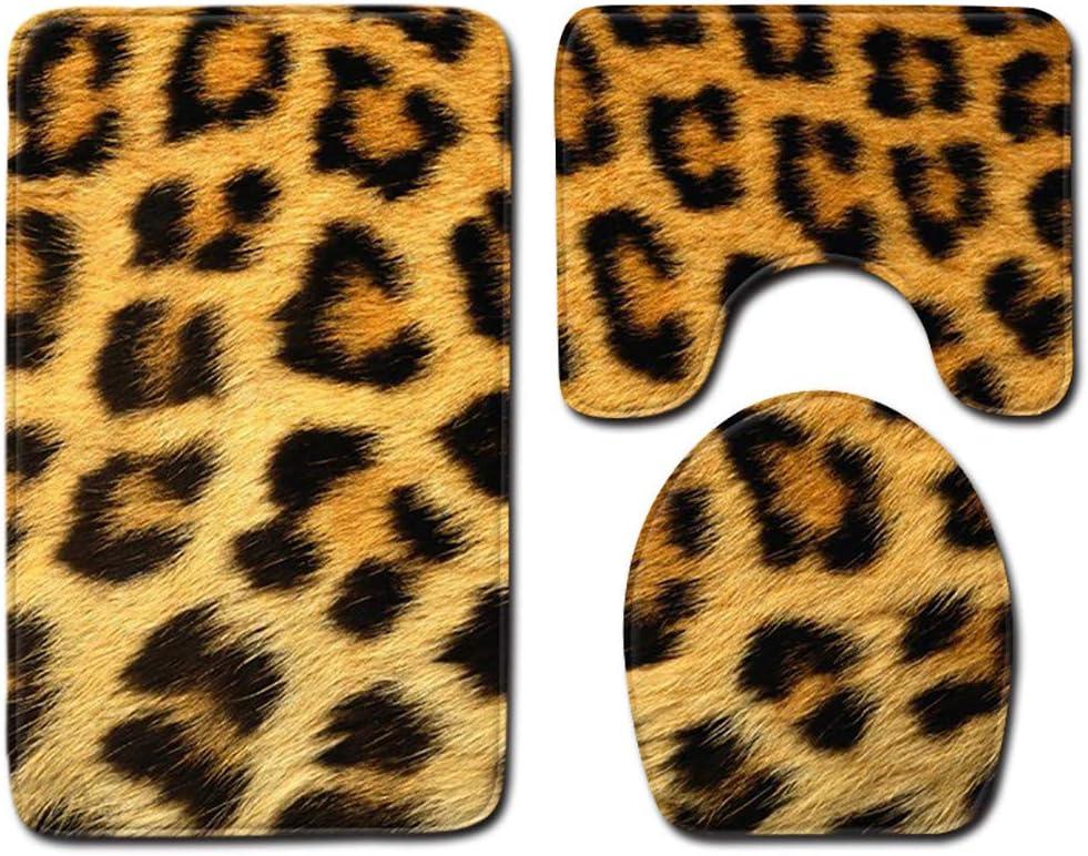 Print Toilet Mat Set Soft Flannel Rug+Lid Toilet Cover+Bath Mat Multicolor -B WARMSHOP 3Pcs A Set Bathroom Toilet Rug Animal Tiger Leopard One Size, Brown