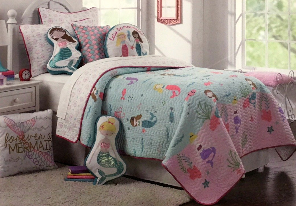 BOATHOUSE for kids Girls' 100% Cotton Summer Reversible FULL/QUEEN Quilt Set | Mermaids Under the Sea