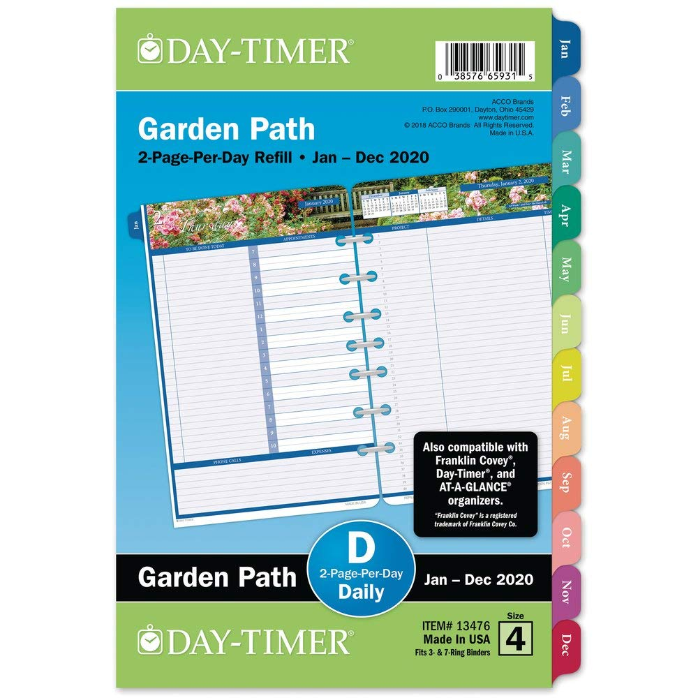 Day-Timer 2020 Daily Planner Refill, 5-1/2'' x 8-1/2'', Desk Size 4, Two Pages Per Day Loose Leaf, Garden Path (13476) by Day-Timer