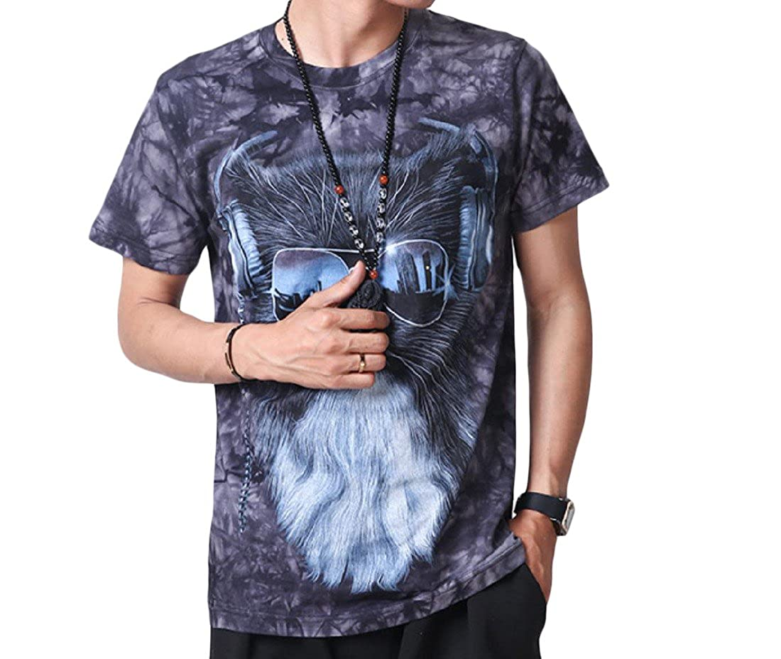 Honey GD Mens Slim Fit Crew-Neck Patterned Short-Sleeve T-Shirt Top