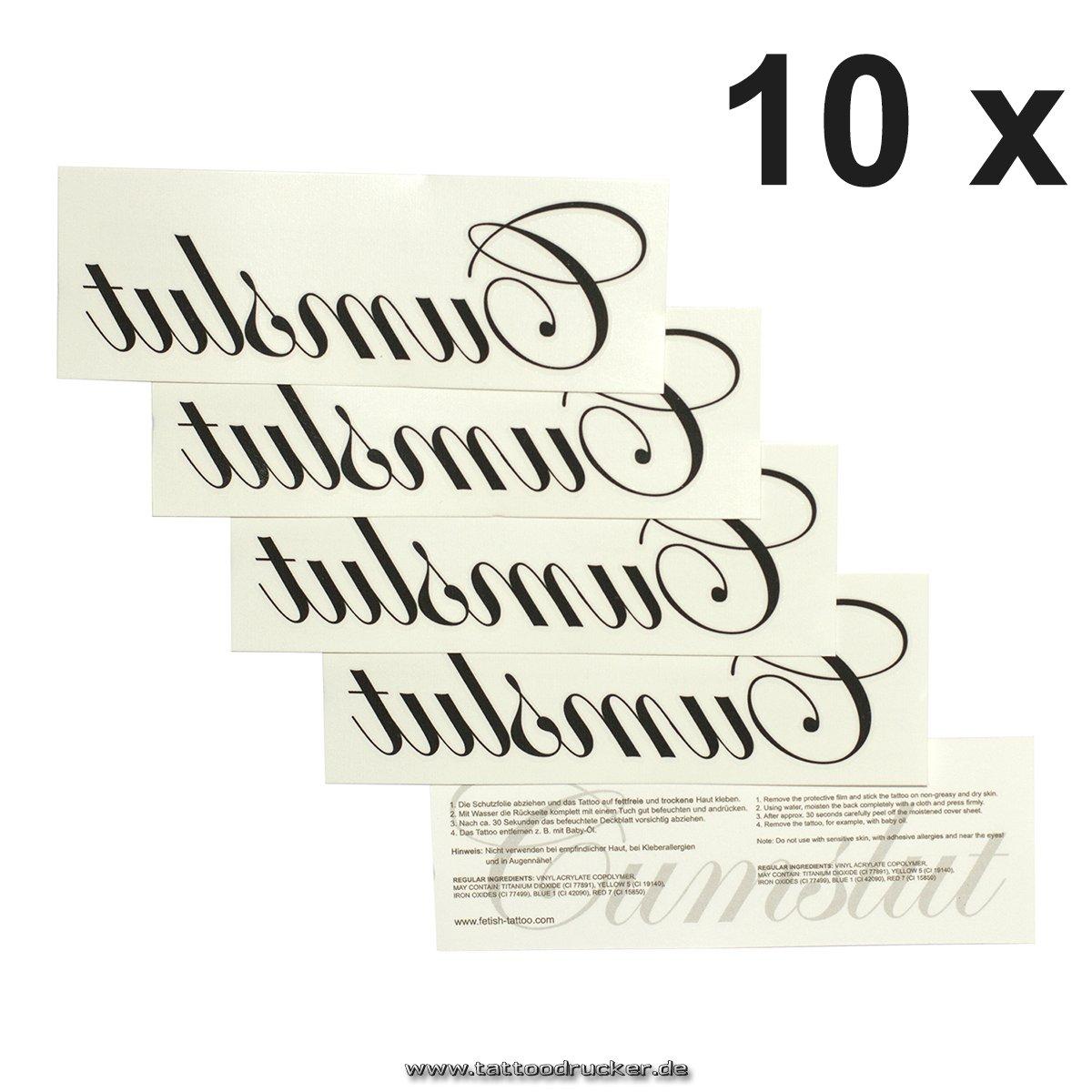 Amazon.com: 10 x Cumslut - Tattoo lettering in black - Temporary ...