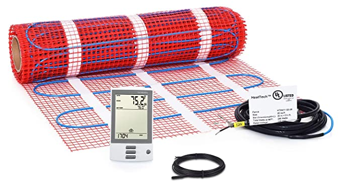 20 sqft Mat Kit, Electric Tile Floor Heating System with GFCI Programmable Thermostat and Floor Sensor, 120V