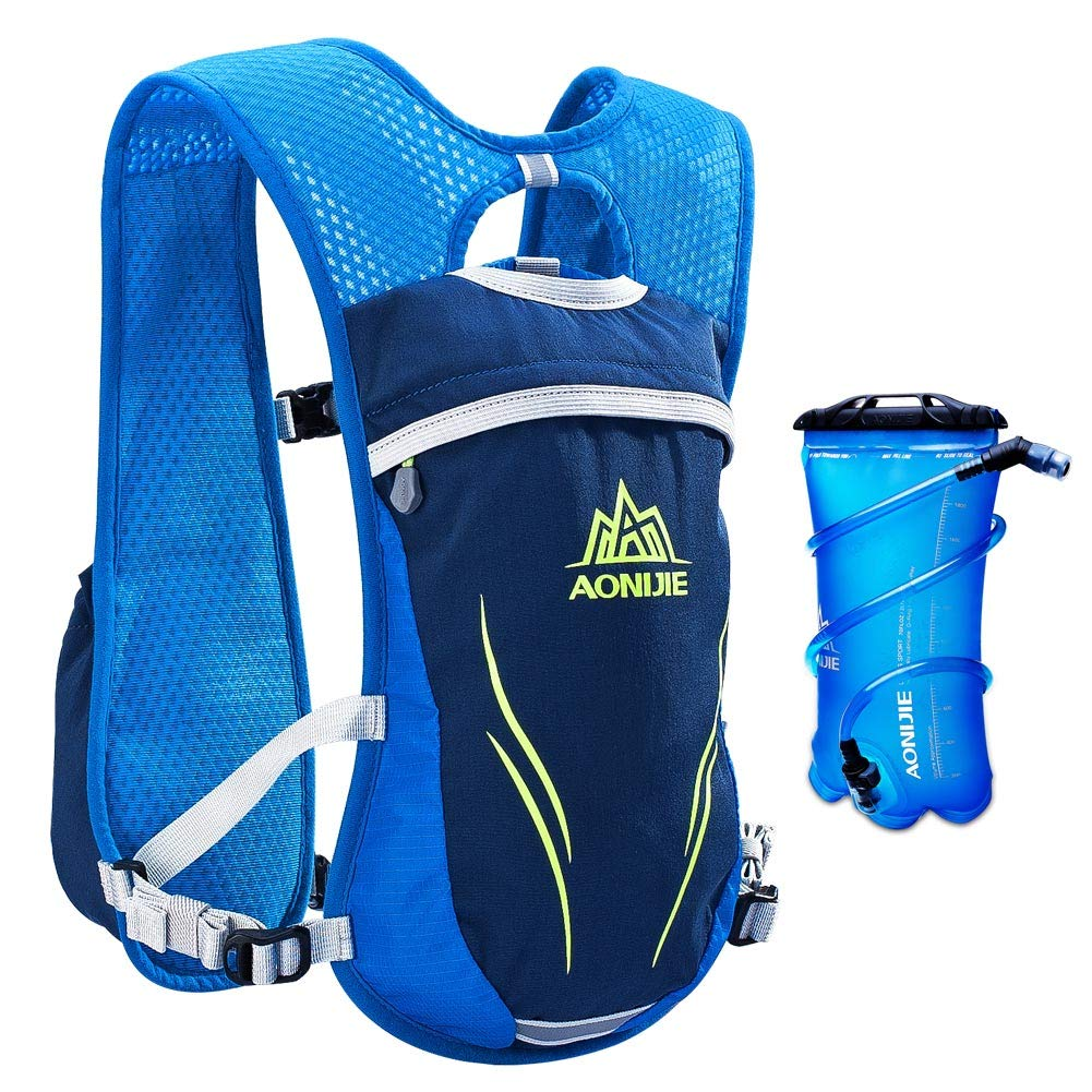AONIJIE Running Hydration Vest for Hiking Cycling Hydration Backpack for Women and Men Lightweight Trail Running Backpack 5.5L (blue-2L) by AONIJIE (Image #1)