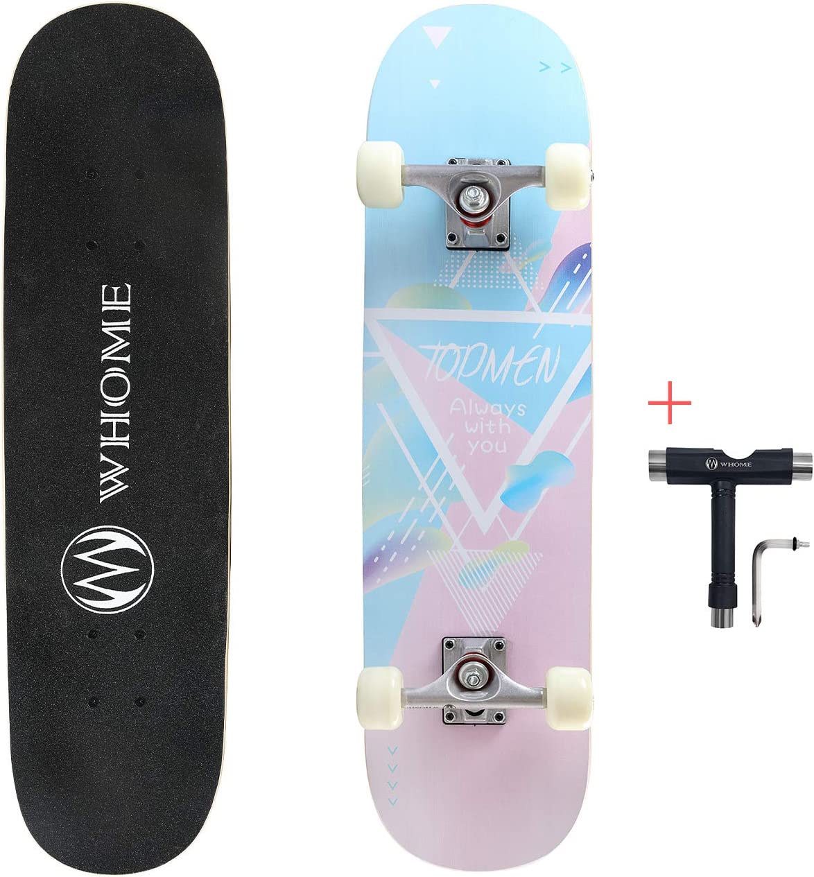 WHOME Pro Skateboard Complete for Adult Youth Kid and Beginner 31 Double Kick Concave Street Skateboard 8 Layer Alpine Hard Rock Maple Deck ABEC-9 Bearings Includes T-Tool