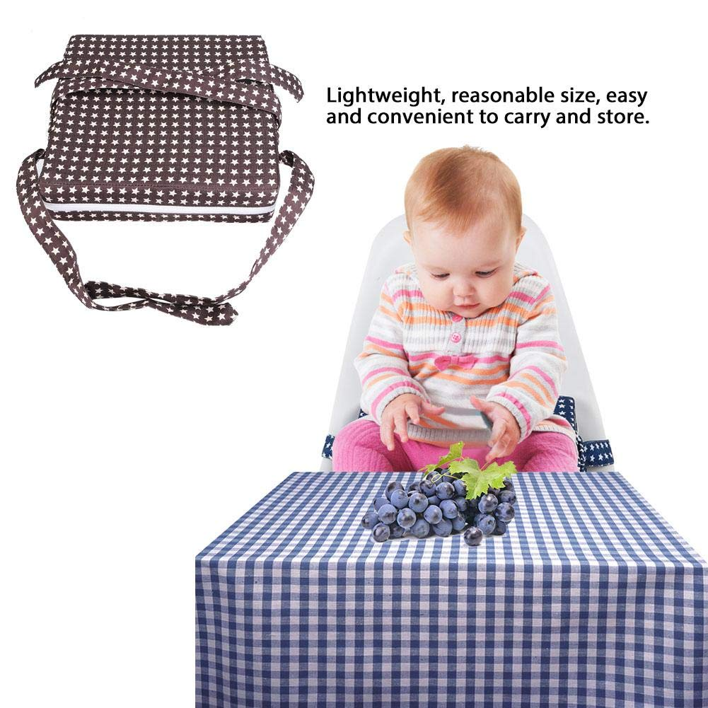 Baby Chair Booster Cushion Blue Stars Square Non-Slip Chair Pad Booster Seat Mat Pads Dining Heightening Soft Cushion with Adjustable Straps and Strong Buckles