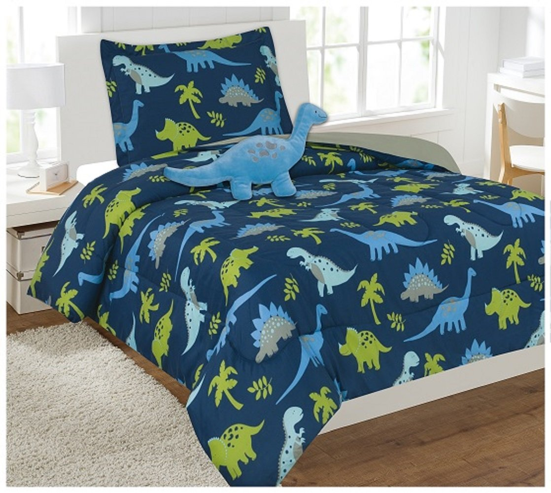 WPM 3 Piece TWIN Comforter Set Kids/Teens Dinosaur Blue Jungle Animal Print Design Luxury Bed In a Bag Furry Decorative TOY Pillow Included
