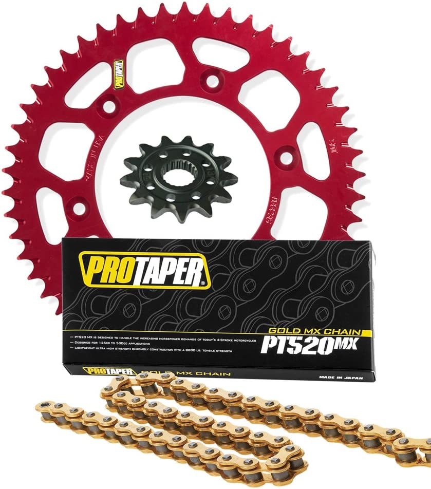 compatible with Honda CRF250R /& CRF250X Pro Taper Front /& Rear Sprockets /& PT520MX Chain Kit