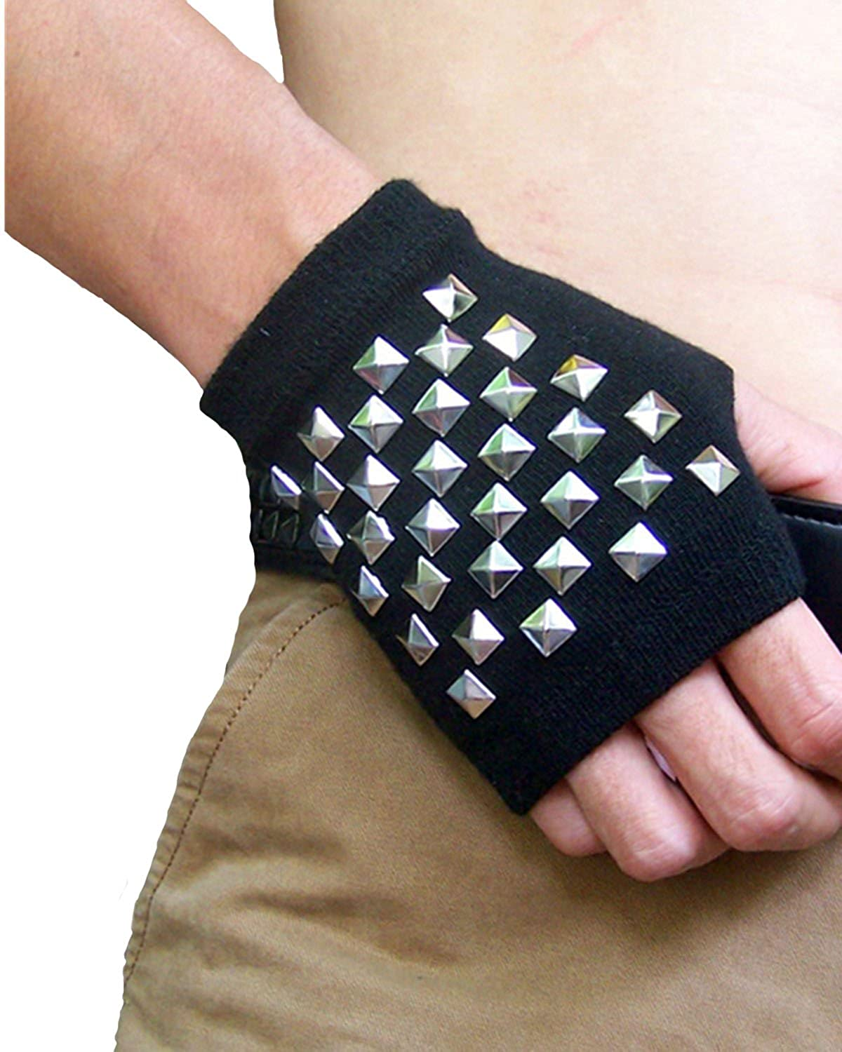 IXIMO Fingerless Mittens Mental Rivet Punk Gloves For Performance Stage Show Bar Club