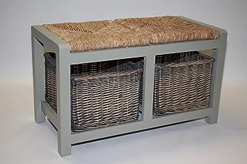 Grey Wood Storage Bench With 2 Wicker Rattan Baskets.