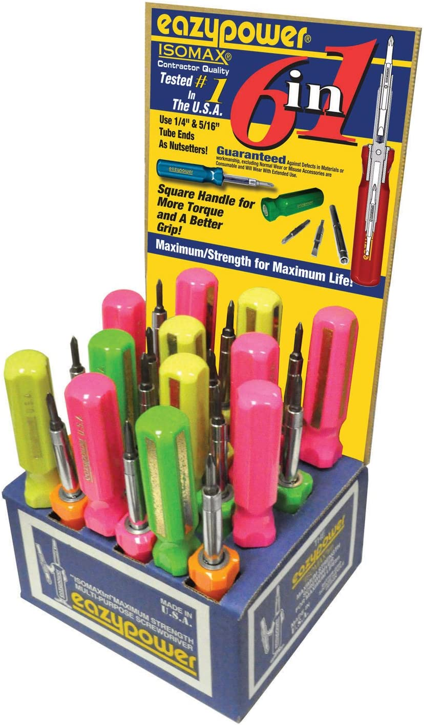R1//R2 Square Recess; #1//#2 Phillips; 1//4 and 5//16-inch Nut Setters Eazypower 86608 24-Pack Blue 6-in-1 Screwdriver
