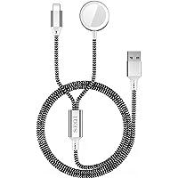 SEQI Cargador de reloj, cargador inalámbrico magnético 2 en 1, cable de carga trenzado de nailon compatible con Apple…