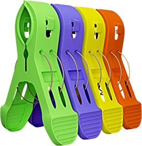 Brandobay Jumbo Plastic Clips - Ideal for Sealing Candy, Chips and Other Snack Foods Tightly for Freshness - Towel Holder - Set of 4, 4 Bright Colors - Hight Quality Plastic construnction